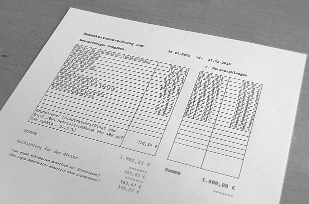 Nebenkostenabrechnung I + III